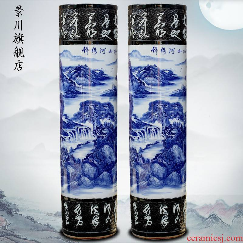 Blue and white porcelain of jingdezhen ceramic hand - made expeditions of large vases, home furnishing articles stores the hall decoration