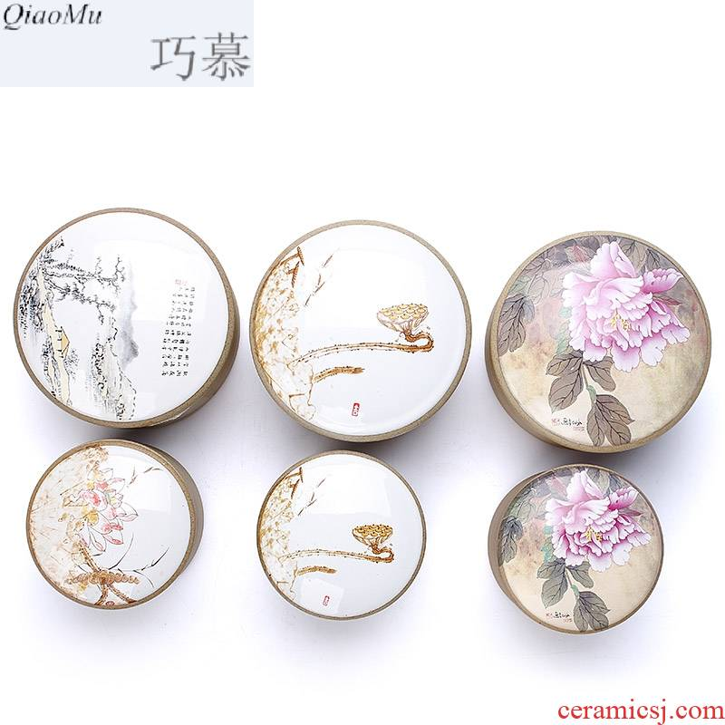 Qiao mu bamboo coarse pottery tea pot after ancient rock tea box medium small ceramic seal pot