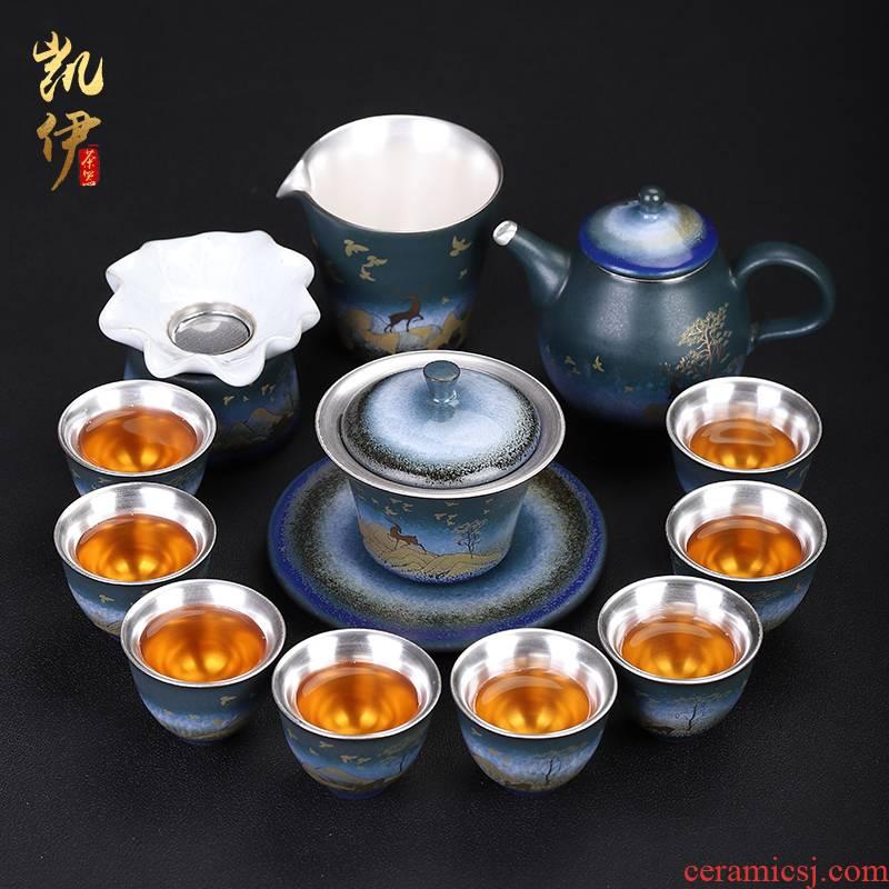 A deer peace coppering. As silver tea set jingdong ceramic kung fu tea set silver cup lid bowl of tea tea set