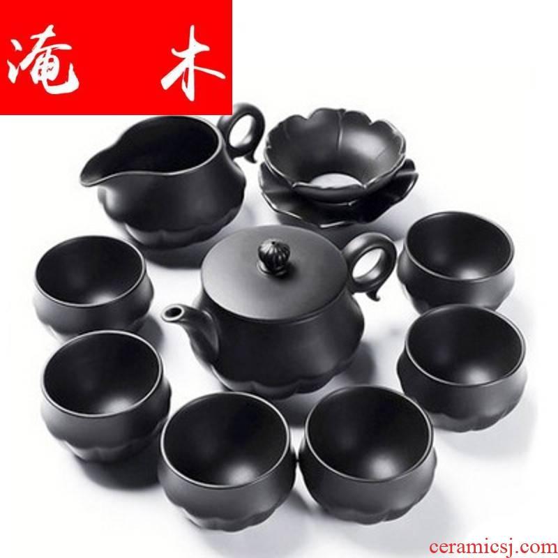 Submerged wood, ceramic purple kung fu tea set household yixing tea tea tureen of a complete set of the teapot gift boxes