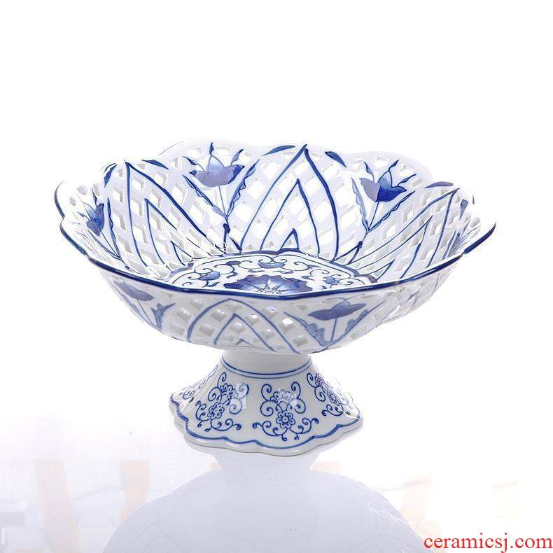 Chinese style adornment place to live in a tall blue and white porcelain in jingdezhen ceramics compote water crafts hollow out