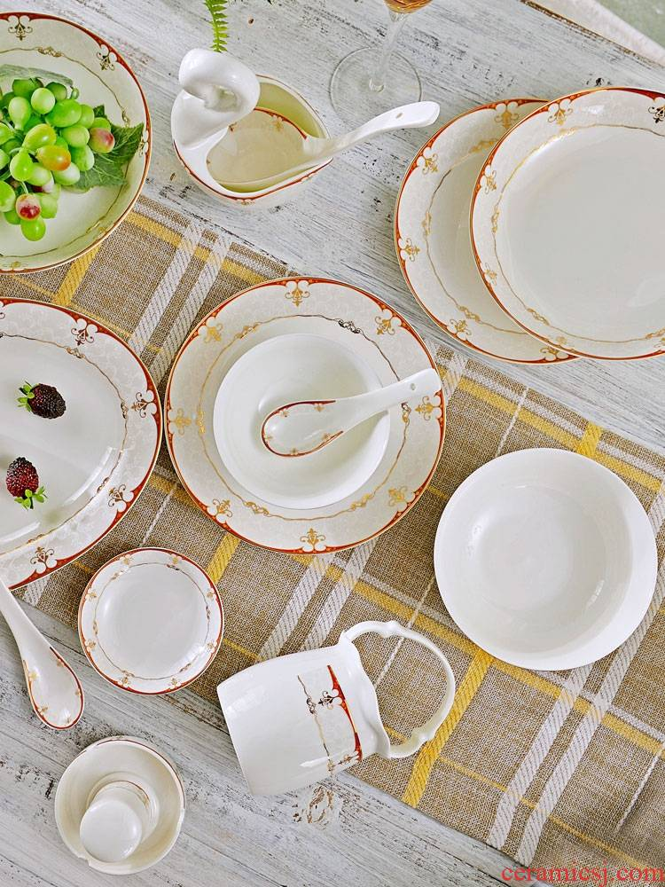Qiao mu dishes suit household jingdezhen ceramic tableware bowl chopsticks suit Chinese contracted ipads porcelain plate