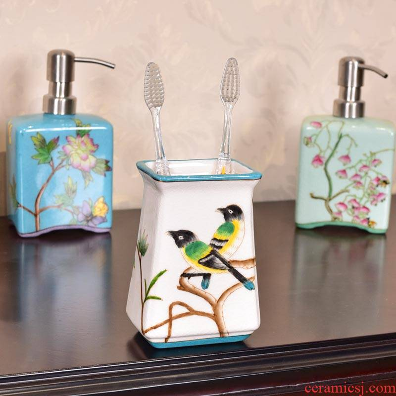 Creative ceramic hand - made bathroom toothbrush cup of new Chinese style bathroom toilet toiletries version into gifts