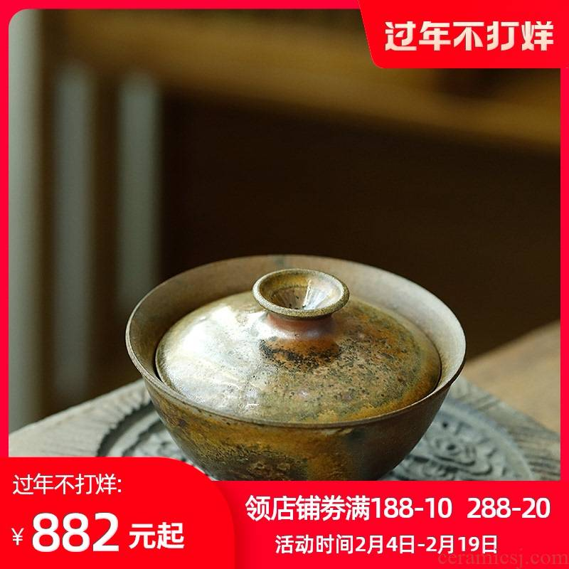 Jingdezhen firewood orphan works hand made 】 【 coarse pottery hand grasp pot of tea bowl of pure manual can raise tureen individual cups