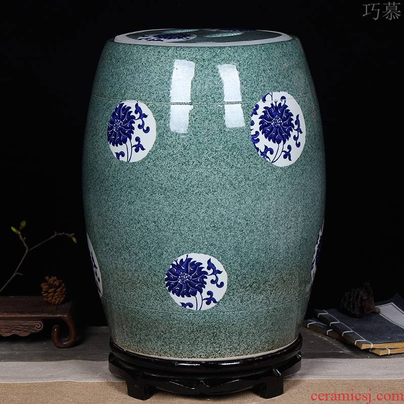 Qiao mu jingdezhen ceramic barrel household thickening 20 jins 30 jins 50 kg ricer box storage bacon tank kitchen decoration
