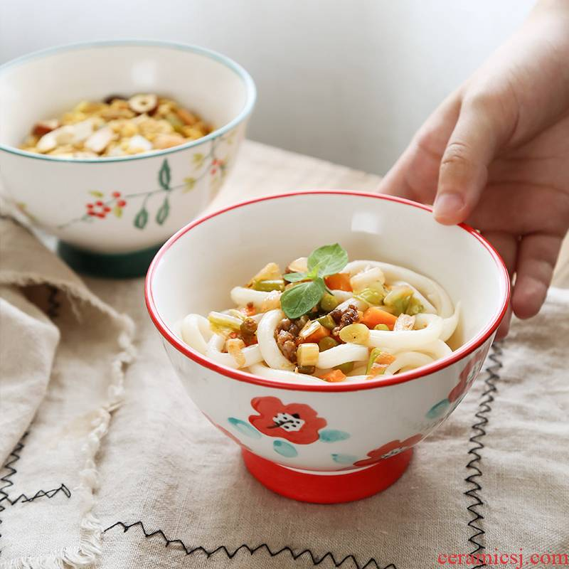Nordic ins tall bowl home against hot hat to small rainbow such as bowl bowl hand - made rice bowls thickening single tableware