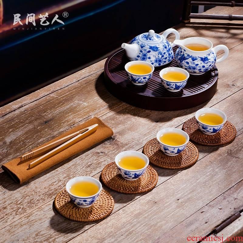 Jingdezhen tea set kung fu tea pot set of pottery and porcelain of a complete set of 6 person household ceramics gift