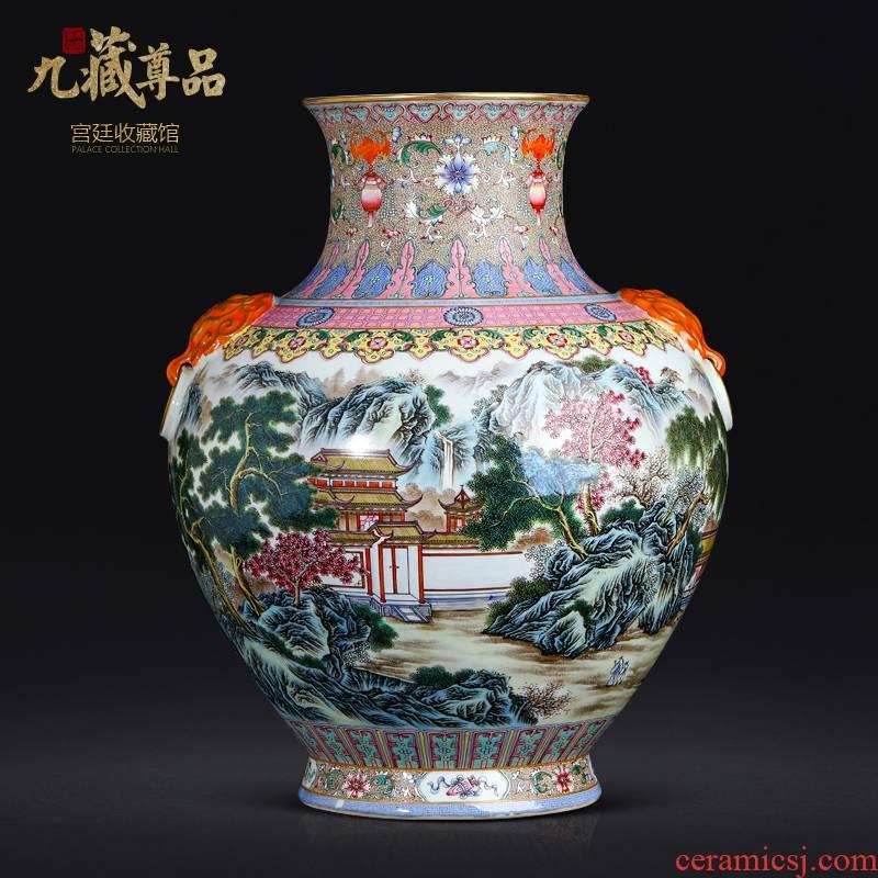 The Qing qianlong GuYueXuan pastel landscape lion ear vases, antique ancient porcelain of jingdezhen ceramic Chinese style living room furnishing articles