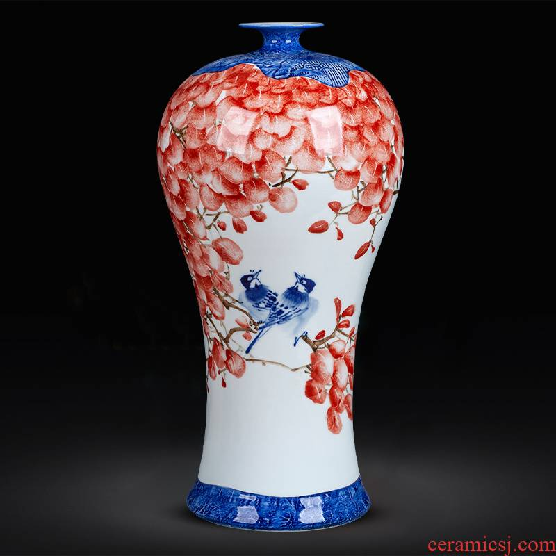 Jingdezhen ceramics hand - made large bottles of landing place, a new Chinese style household porcelain of the sitting room adornment is placed