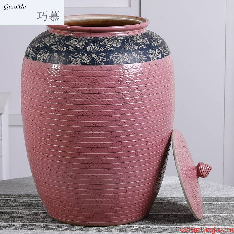Qiao mu barrel of jingdezhen ceramics with cover with large capacity storage tank moistureproof insect - resistant 20 jins of 50 kg 100 catties