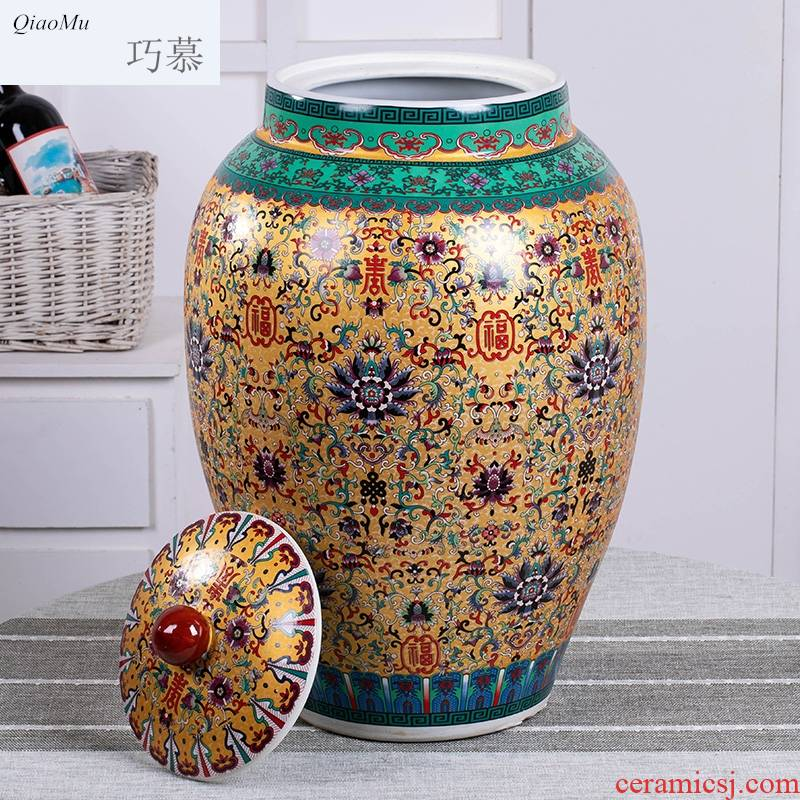 Qiao mu jingdezhen ceramic household with cover cylinder barrel surface large capacity moistureproof insect - resistant storage tank 20 jins 50 pounds