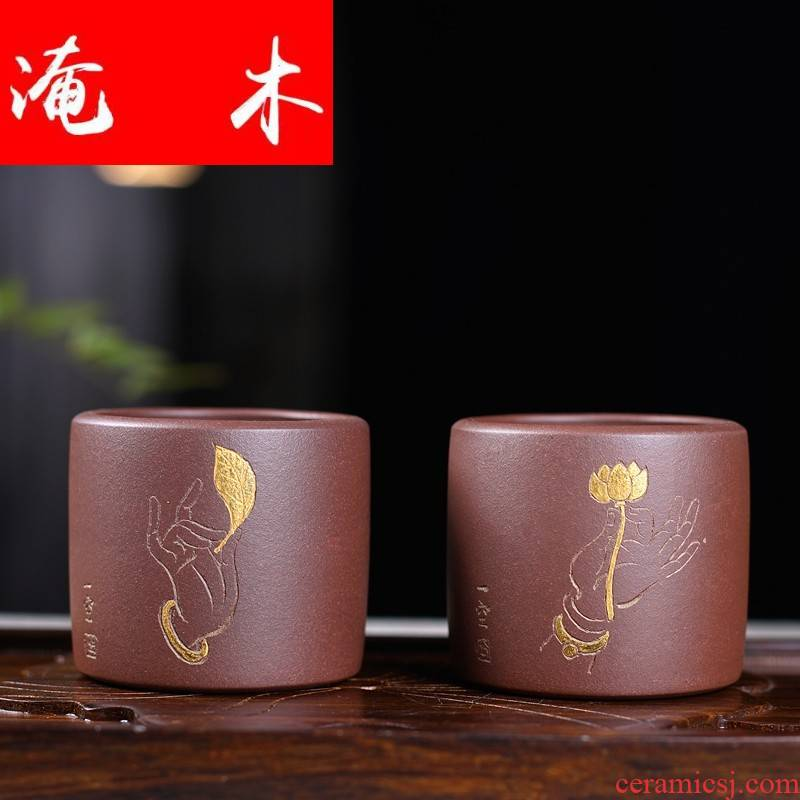 Submerged wood small purple sand cup sample tea cup masters cup famous Wu Jianli paint bergamot cup cup glass crafts