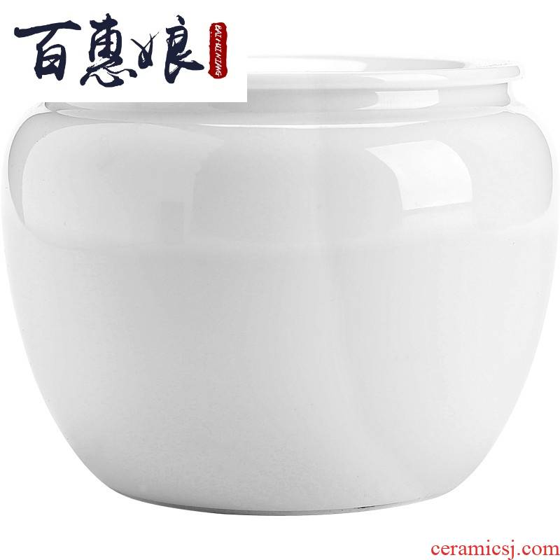 (niang dehua white porcelain was built in hot water ceramic dou small waste tea urn tea to wash to the trumpet with cover water to wash the tea taking
