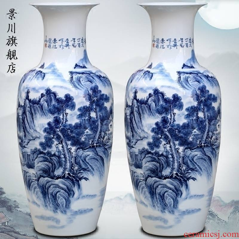 Blue and white landscape big vase jingdezhen ceramics hand - made sitting room adornment landing place hotel opening gifts