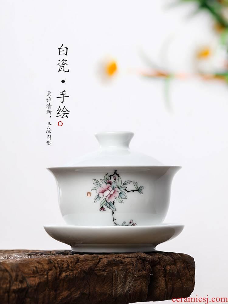 Pure manual three tureen tea cups only protect hot jingdezhen ceramic kung fu tea bowls hand - made flowers white porcelain tea set