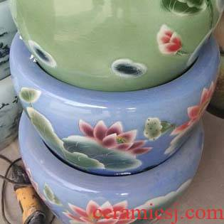 Jingdezhen porcelain ceramic painting and calligraphy art aquarium fish farming water lily cylinder cylinder cylinder art riches and honor peony