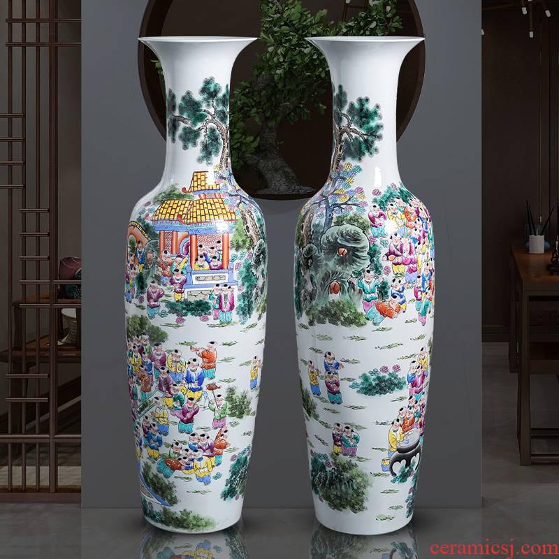 Jingdezhen porcelain ceramic hand - made lad make spring hotel home sitting room adornment is placed large ground vase