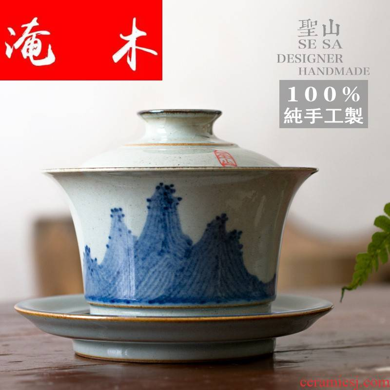 Submerged wood jingdezhen blue and white tureen hand - made porcelain of archaize checking ceramic tea set three tureen large cups