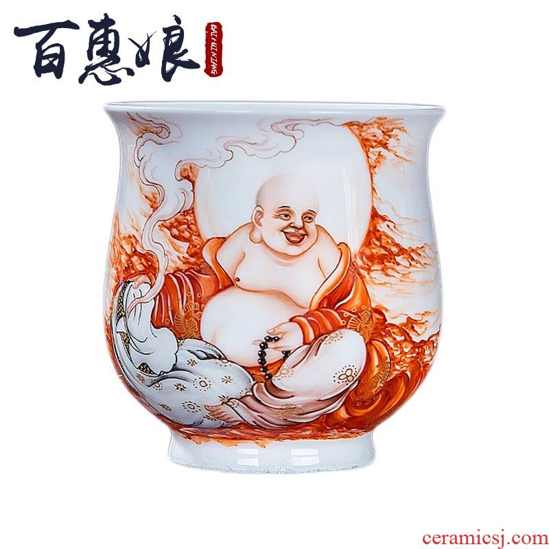 (niang jingdezhen hand - made pastel alum red paint 18 arhats kung fu tea set of master sample tea cup cup
