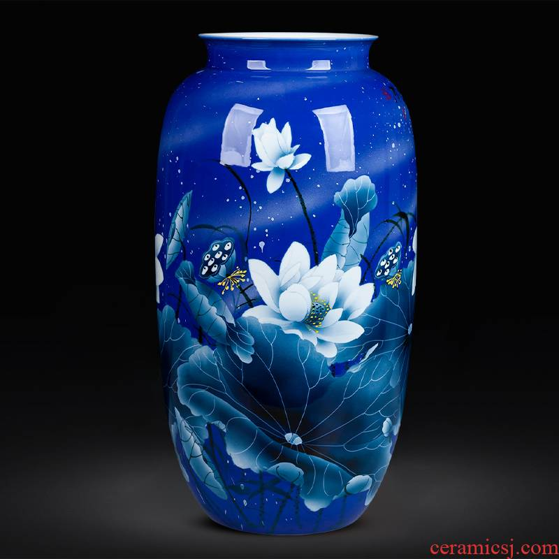 Jingdezhen ceramic bottle water raise high blue and white porcelain vase hand - made lotus lucky bamboo large Chinese style living room furnishing articles