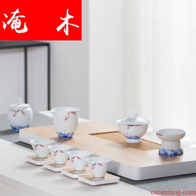 Submerged wood jingdezhen blue and white porcelain lotus rhyme tea set tea cups tureen) fair keller gift boxes logo