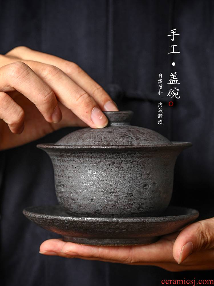 Jingdezhen tea machine only three hand grasp the hot tureen tea cups large kung fu tea bowl with coarse TaoChun hand