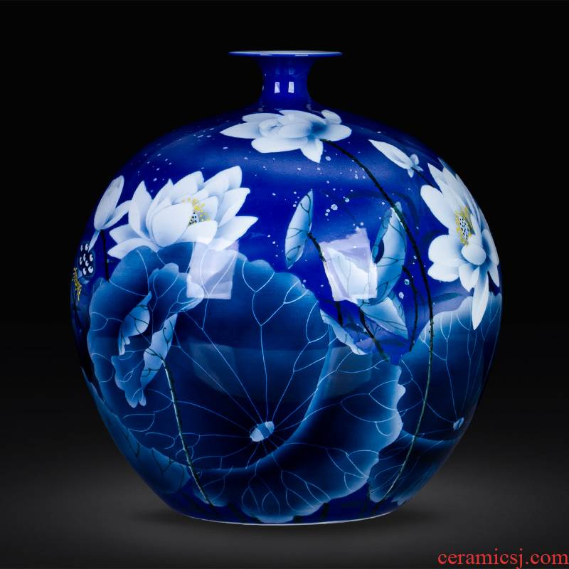 Blue and white porcelain of jingdezhen ceramics hand - made lotus large new Chinese style household vase furnishing articles sitting room adornment