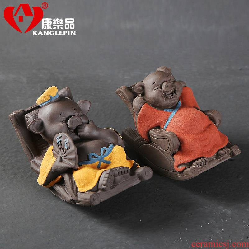 Recreational tea pet exquisite furnishing articles can raise creative violet arenaceous shake-down thousand become lovely pig pig tea accessories