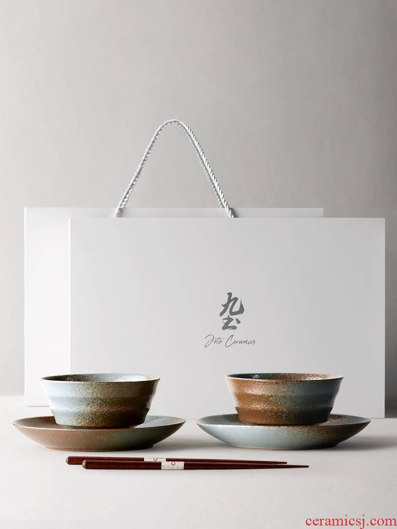 Nine, soil Japanese people eat coarse pottery food dishes chopsticks household tableware suit retro ceramic bowl rainbow such as bowl gift boxes
