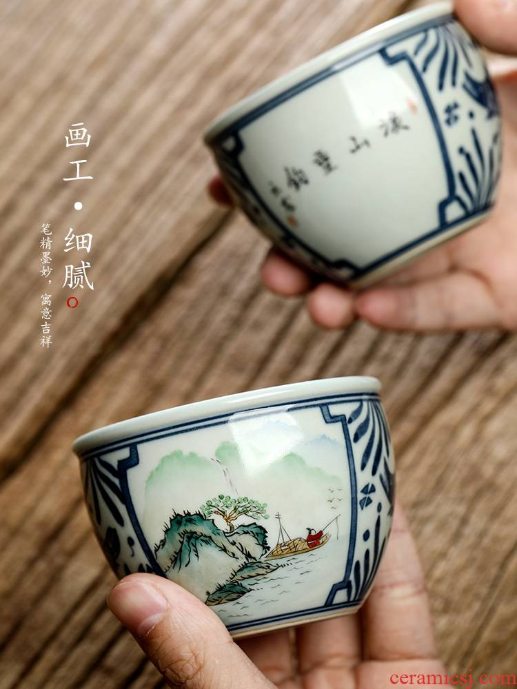 Jingdezhen blue and white porcelain teacup master cup single CPU male kung fu tea set sample tea cup single hand - made landscape tea urn