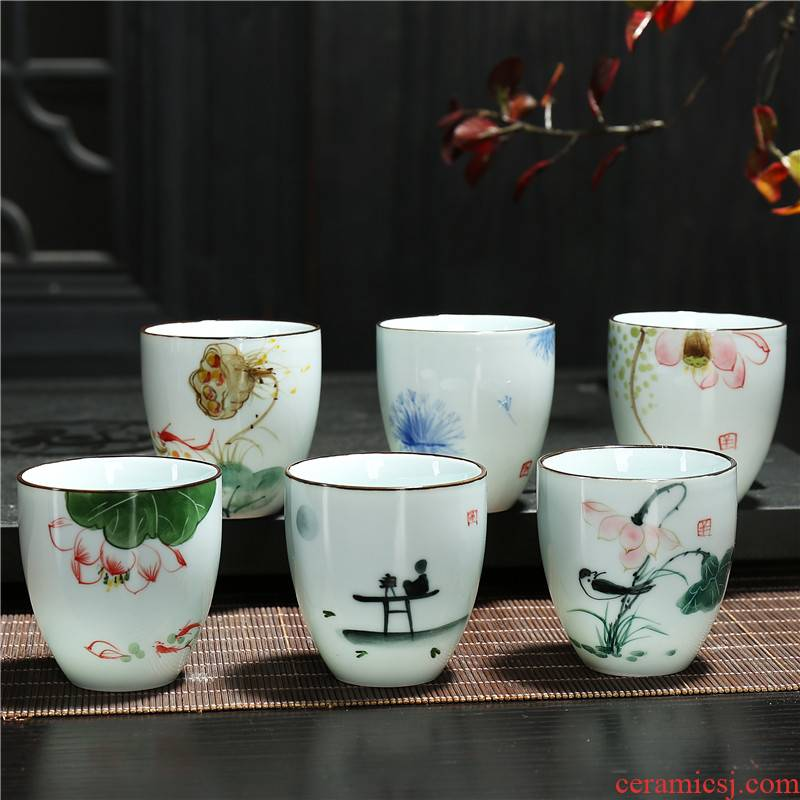 Under the glaze color two ceramic hand - made single cup cup home creative Chinese traditional antique liquor cup small beer