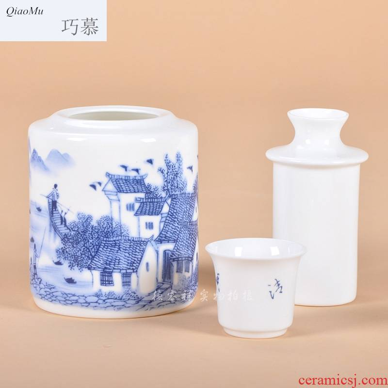 Qiao mu thin fetal ipads porcelain two temperature wine pot hot wine glasses blue and white porcelain of jingdezhen ceramics wine warm yellow rice wine