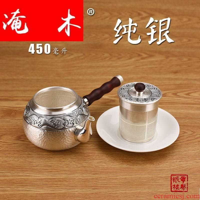 Submerged wood, silver side boiled teapot 999 silver tea set tea filter burn blisters the violet arenaceous glass ceramic teapot
