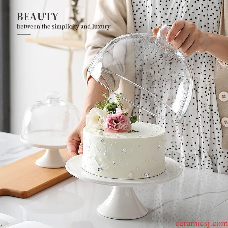 Ceramic cake plate wedding birthday dessert plate high tray was dessert snacks frame baking cake pan