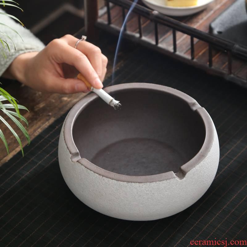 Creative large heavy ashtray retro move ceramic ashtray home sitting room office multi - function ashtray