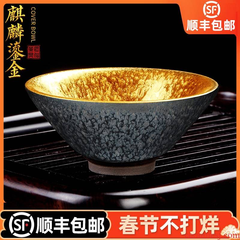 Artisan fairy up gold hat to light household tea tea, pure checking ceramic cups build master cup single CPU