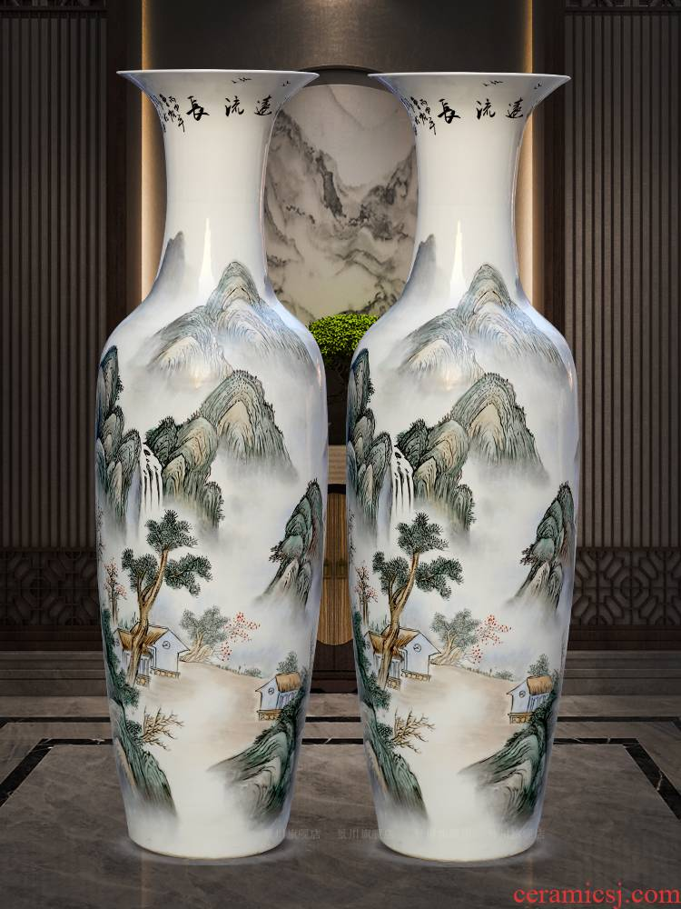 Jingdezhen ceramics has a long history in the hand - made landscape big vase home famille rose porcelain furnishing articles sitting room adornment