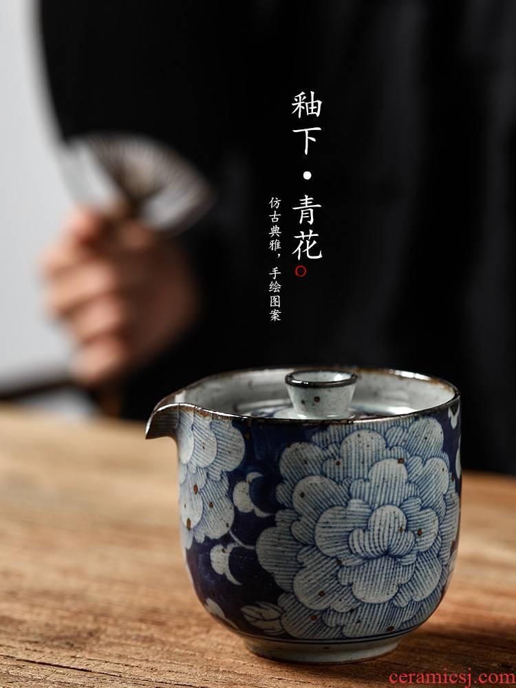 Jingdezhen tea machine hand grasp lid bowl prevent hot cups large ceramic hand - made porcelain kunfu tea tea bowl of tea set