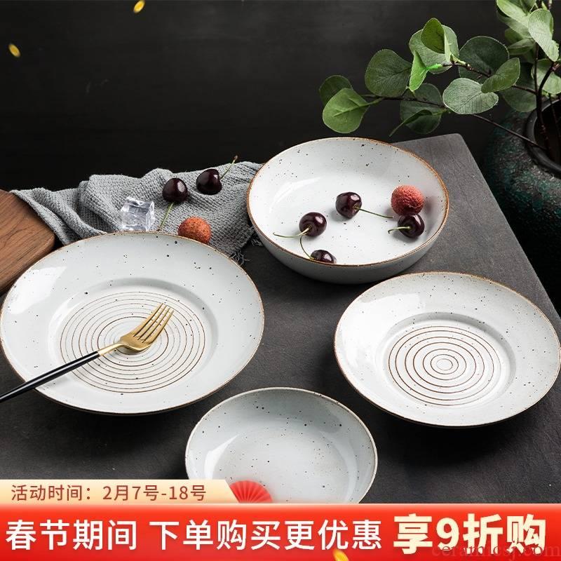 Retro nostalgia Japanese - style tableware Retro plate individuality creative plates pasta salad plate of old coarse pottery dishes