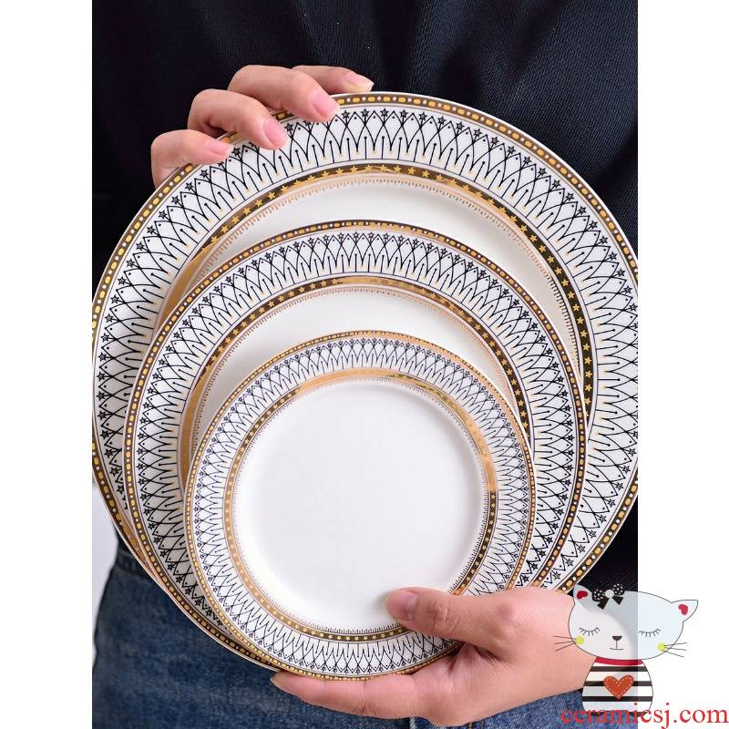 LED up phnom penh ceramic tableware suit household continental plate steak plate rice bowls soup plate dishes suit