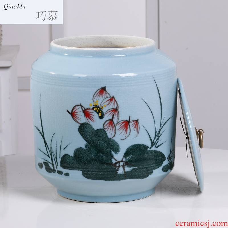 Longed for jingdezhen ceramic ice to crack the home opportunely/barrel of flour storage box cylinder barrel rice moisture storage