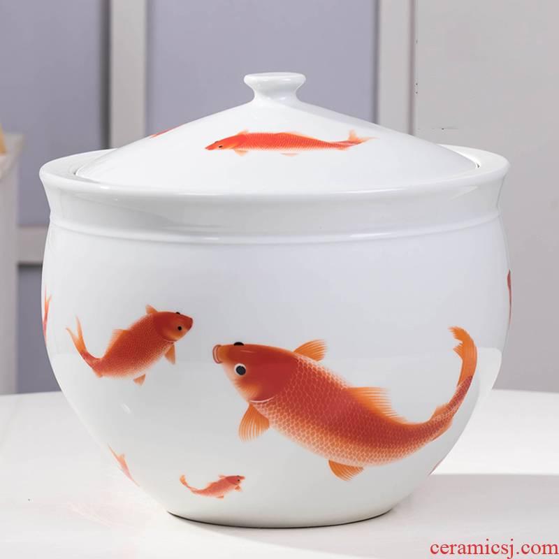 Household ceramics barrel ricer box with cover locker wine pickle meat cylinder 5 jins of 10 jins 20 jins grain storage tank