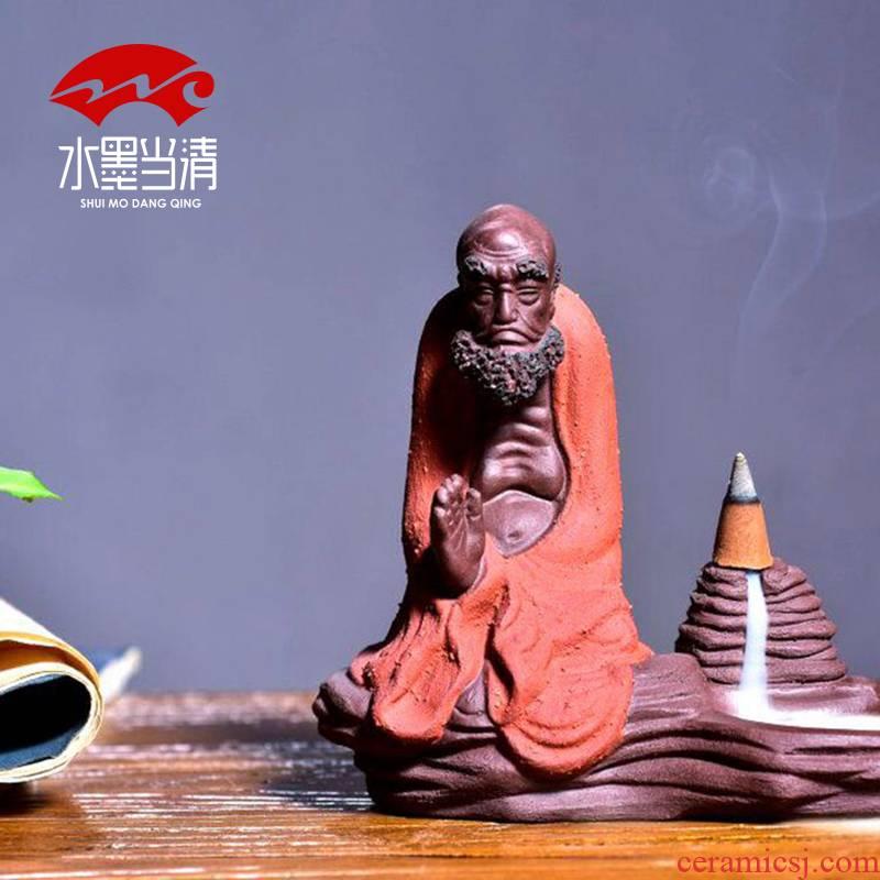 Purple sand tea tea pet dharma zen small ornament household ornaments hand back ground censer creative head