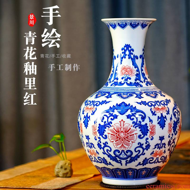 Jingdezhen blue and white porcelain vase youligong tangled branches of the study of new Chinese style living room decoration porcelain bottle furnishing articles