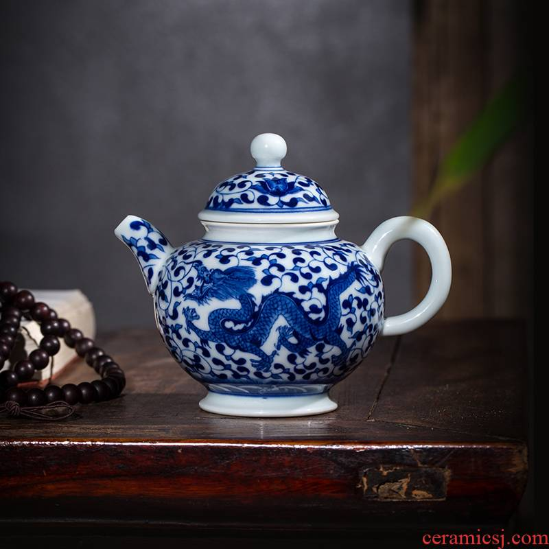 Blue and white teapot owl up jingdezhen ceramics by hand mercifully kung fu tea set branch lotus archaize longfeng lines compose ball pot