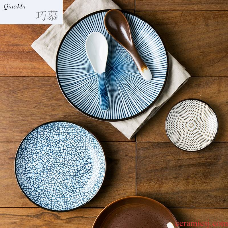 Qiao mu Japanese ancient ceramic plate western - style food dish plate disc rice bowls flavor dishes tableware suit household