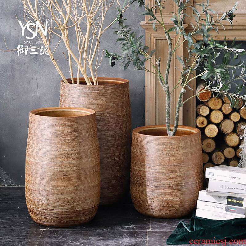 Nordic creative decorative household contracted ceramic flower implement green plant pot cylinder big vase furnishing articles sitting room ground flower arrangement