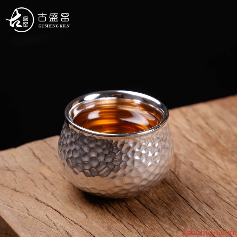 The ancient masters cup single cup silver cup sheng up ceramic sample tea cup silver bowl tea kungfu coppering. As silver cup