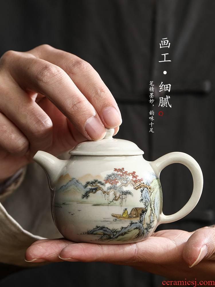 Jingdezhen hand - made scenery Chinese teapot tea pot pot of pure manual plant ash glaze ceramic kunfu tea tea set
