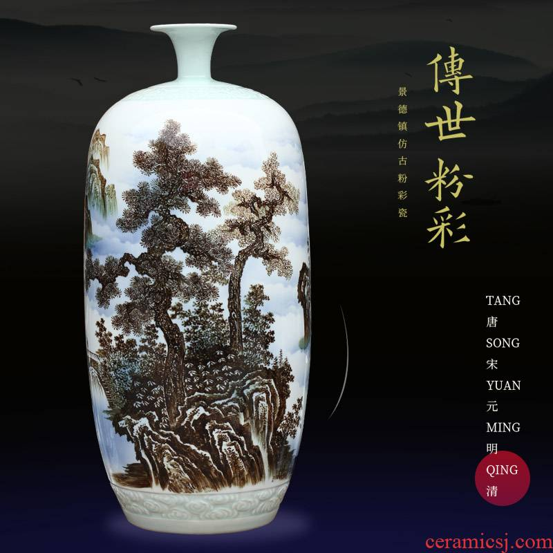 Jingdezhen ceramics color ink hand - made landscape painting vase I household mesa archaize sitting room furnishing articles